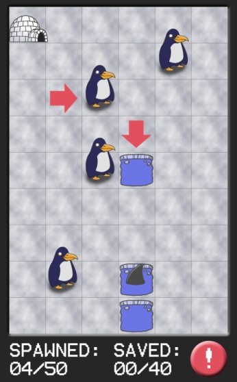 Very first gameplay mockup image for Penguin Panic